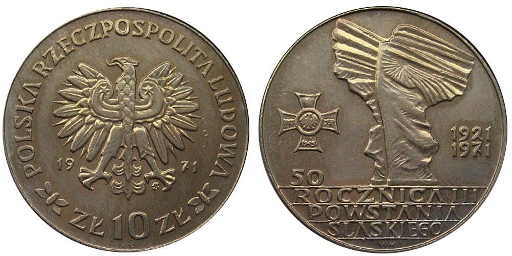 10 злотых 1971 Польша — 50 лет с момента присоединения Верхней Силезии