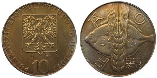 10 злотых 1971 Польша — Продовольственная программа — ФАО
