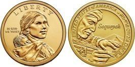 1 доллар 2017 D США UNC — Коренные Американцы — Секвойя — Изобретатель азбуки Чероки
