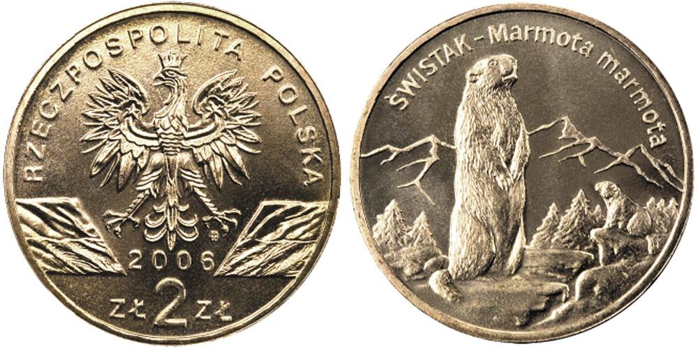 2 злотых 2006 Польша — Всемирная природа — Сурок