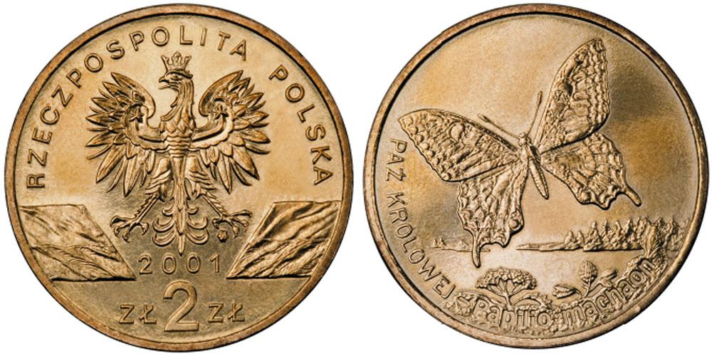 2 злотых 2001 Польша — Всемирная природа — Махаон