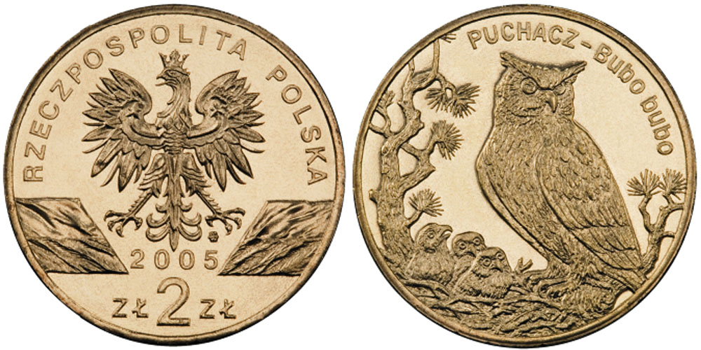 2 злотых 2005 Польша — Всемирная природа — Филин