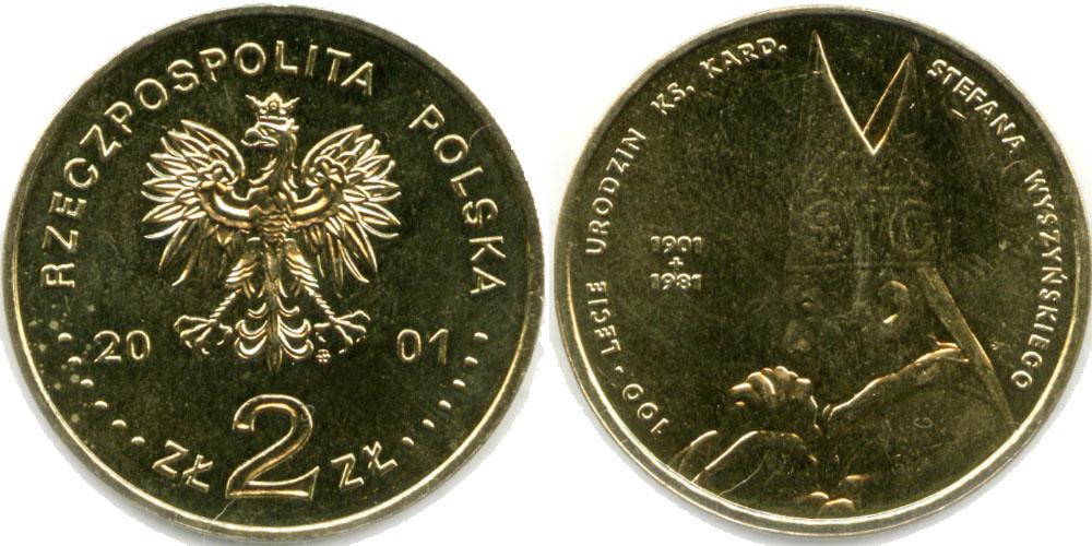 2 злотых 2001 Польша — 100 лет со дня рождения Стефана Вышинского