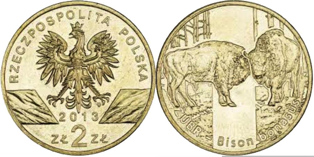 2 злотых 2013 Польша — Всемирная природа — Зубр
