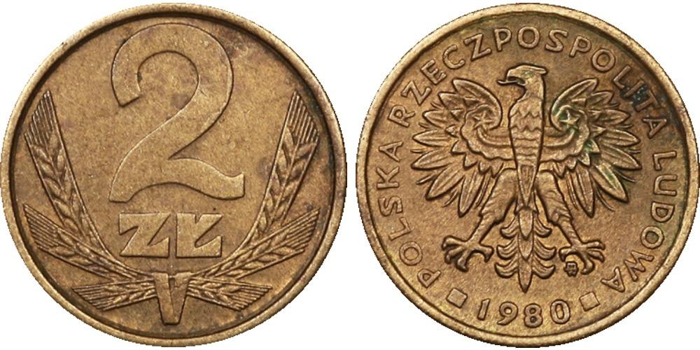 2 злотых 1980 Польша
