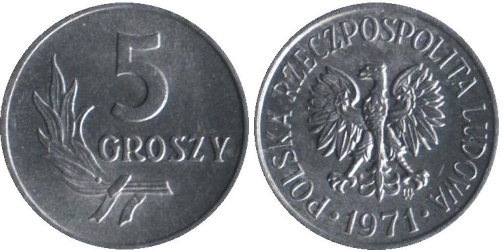 5 грошей 1971 Польша