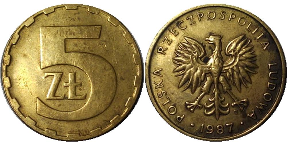 Монета 5 злотых 1987 польша патинирование купоросом и марганцовкой