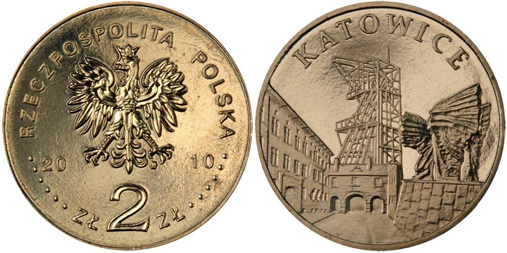 2 злотых 2010 Польша — Города Польши — Катовице
