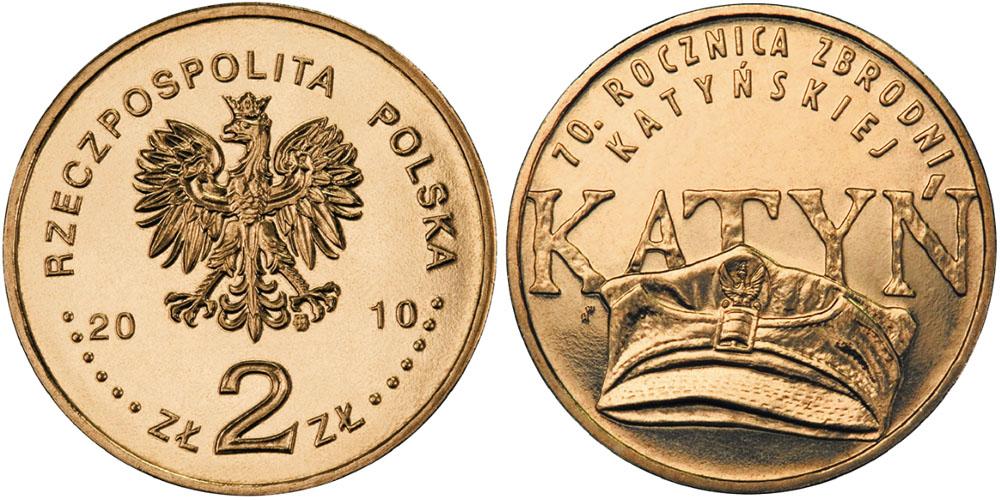 2 злотых 2010 Польша — 70 лет Катынской трагедии