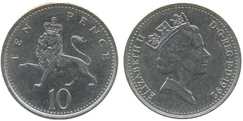 10 пенсов 1992 Великобритания — новый образец