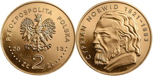2 злотых 2013 Польша — 130 лет со дня смерти Циприана Камиля Норвида