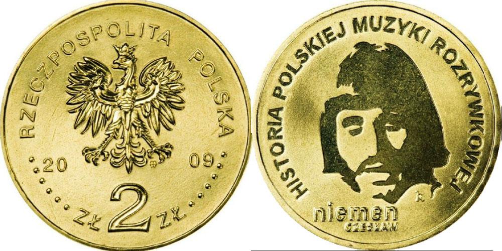 2 злотых 2009 Польша — История польской музыки — Чеслав Немен