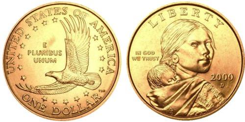 1 доллар 2000 D США UNC — Парящий орёл