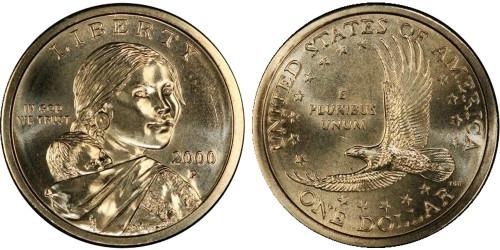 1 доллар 2000 P США UNC — Парящий орёл
