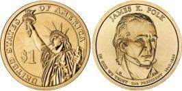 1 доллар 2009 P США UNC — Президент США — Джеймс Полк (1845 — 1849) №11