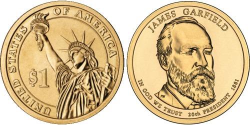 1 доллар 2011 P США UNC — Президент США — Джеймс Гарфилд (1881) №20