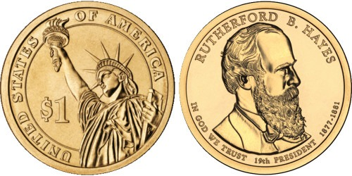 1 доллар 2011 D США UNC — Президент США — Ратерфорд Хейз (1877 — 1881) №19
