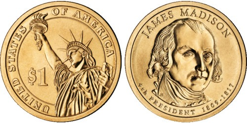 1 доллар 2007 P США UNC — Президент США — Джеймс Мэдисон (1809-1817) №4