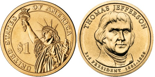 1 доллар 2007 P США UNC — Президент США — Томас Джеферсон (1801-1809) №3