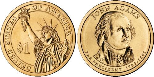 1 доллар 2007 P США UNC — Президент США — Джон Адамс (1797-1801) №2