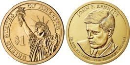 1 доллар 2015 Р США UNC — Президент США — Джон Кеннеди (1961–1963) №35