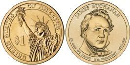 1 доллар 2010 D США UNC — Президент США — Джеймс Бьюкенен (1857-1861) №15