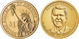 1 доллар 2016 Р США UNC — Президент США — Рональд Рейган (1981–1989) №40