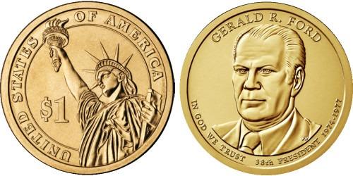 1 доллар 2016 Р США UNC — Президент США — Джеральд Форд (1974–1977) №38