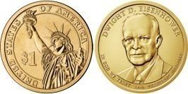1 доллар 2015 D США UNC — Президент США — Дуайт Эйзенхауэр (1953–1961) №34