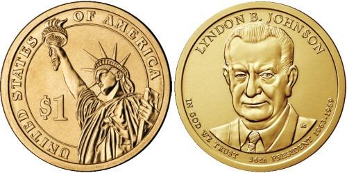 1 доллар 2015 D США UNC — Президент США — Линдон Джонсон (1963–1969) №36