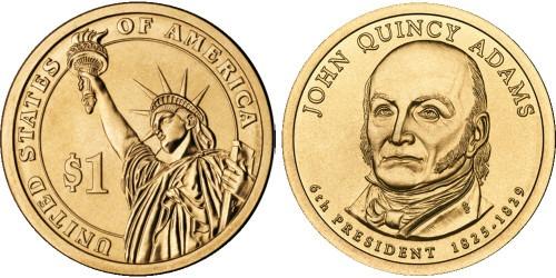 1 доллар 2008 P США UNC — Президент США — Джон Куинси Адамс (1825-1829) №6