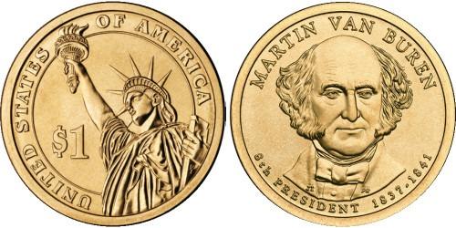 1 доллар 2008 Р США UNC — Президент США — Мартин Ван Бюрен (1837 — 1841) №8