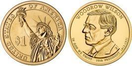 1 доллар 2013 D США UNC — Президент США — Вудро Вильсон (1913 — 1921) №28