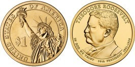 1 доллар 2013 D США UNC — Президент США — Теодор Рузвельт  (1901 — 1909) №26