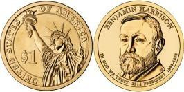 1 доллар 2012 D США UNC — Президент США — Бенджамин Гаррисон (1889 — 1893) №23