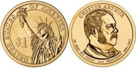 1 доллар 2012 D США UNC — Президент США — Честер Артур (1881 — 1885) №21