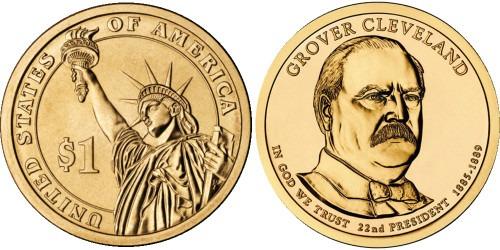 1 доллар 2012 D США UNC — Президент США — Гровер Кливленд (1885 — 1889) №22