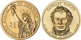 1 доллар 2009 D США UNC — Президент США — Закари Тейлор (1849 — 1850) №12