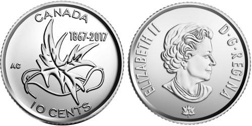 10 центов 2017 Канада — 150 лет Конфедерации Канада — Крылья мира UNC