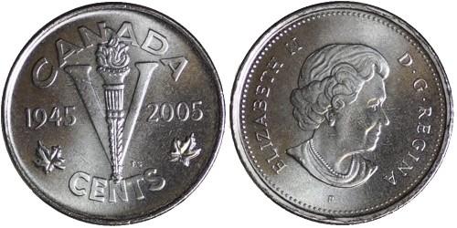 5 центов 2005 Канада — 60 лет победе во Второй Мировой войне