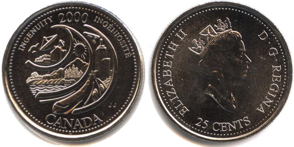25 центов 2000 Канада — Миллениум — Изобретательность