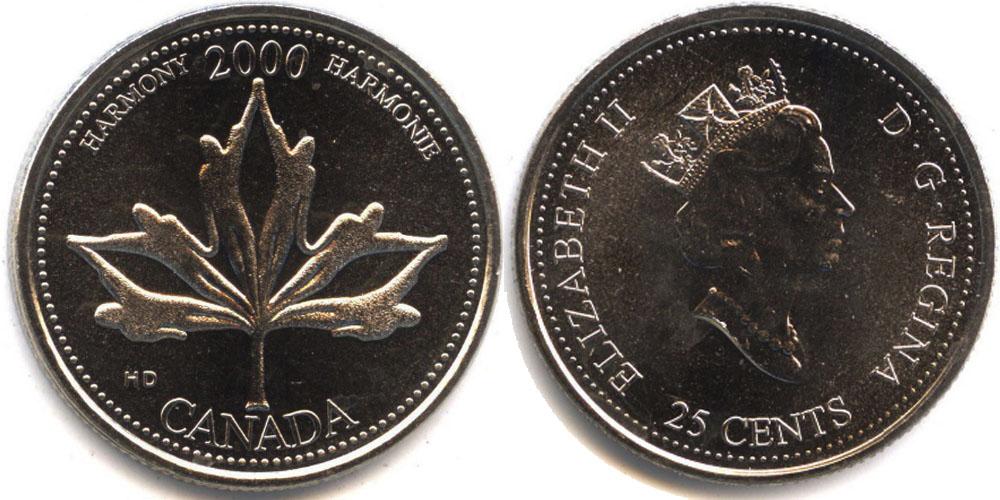 25 центов 2000 Канада — Миллениум — Гармония