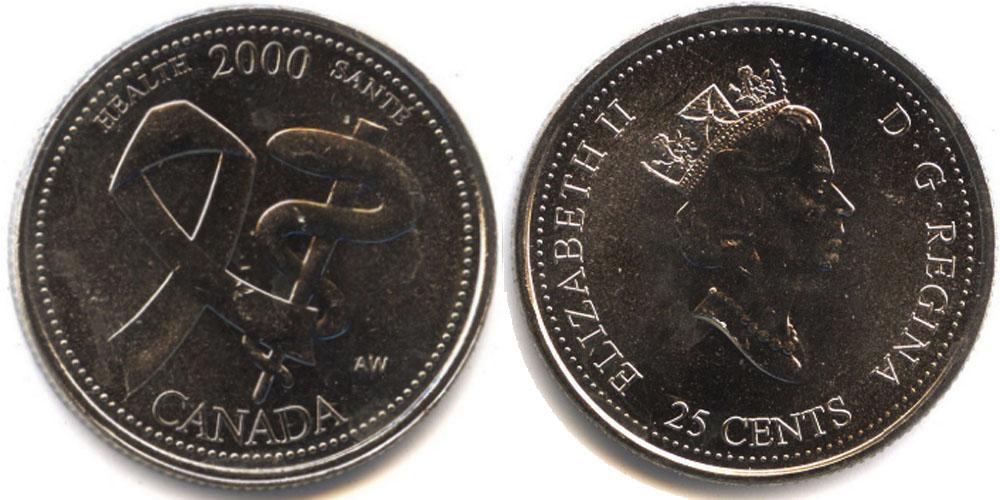 25 центов 2000 Канада — Миллениум — Здоровье