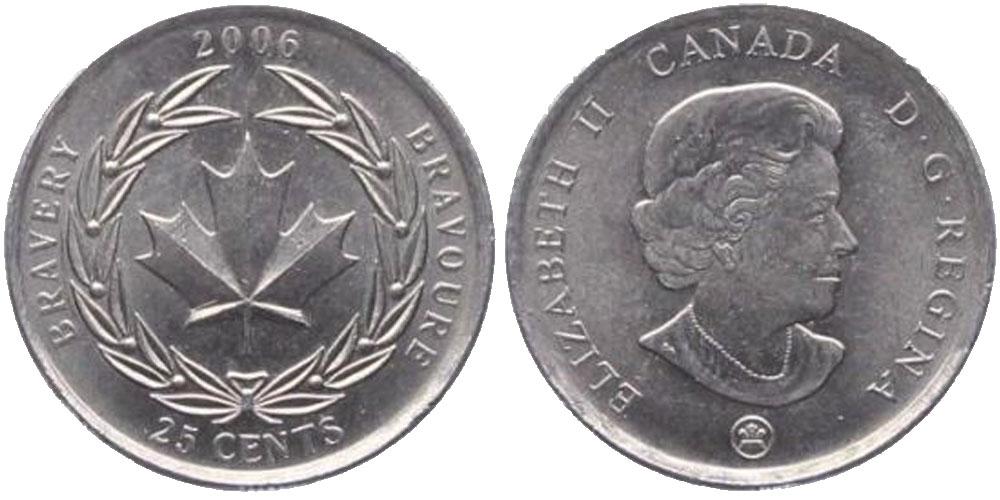 25 центов 2006 Канада — Ордена и медали Канады — Медаль за храбрость