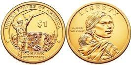 1 доллар 2015 D США UNC — Коренные Американцы — Рабочие Мохоки
