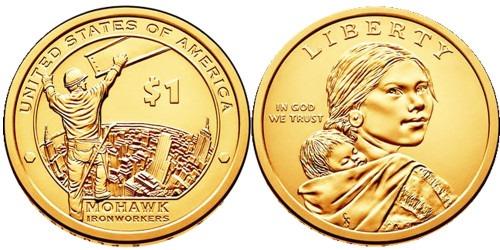 1 доллар 2015 P США UNC — Коренные Американцы — Рабочие Мохоки