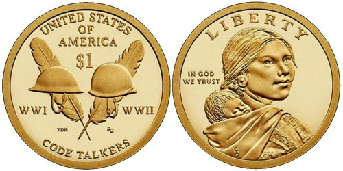 1 доллар 2016 P США UNC — Коренные Американцы — Индейцы — радисты