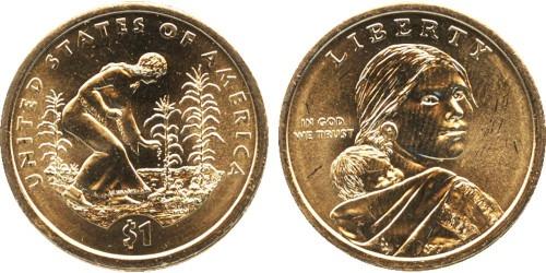 1 доллар 2009 D США UNC — Коренные Американцы — Посадка культур