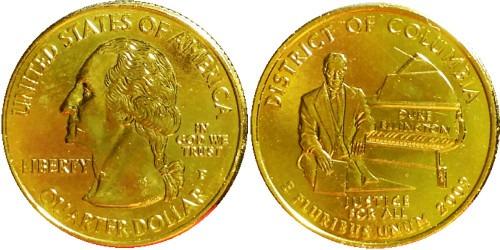 25 центов 2009 P США — Округ Колумбия UNC — позолота
