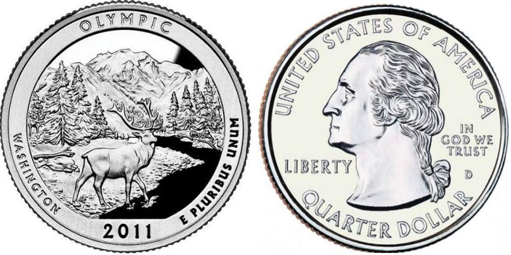25 центов 2011 D США — Национальный парк Олимпик (Вашингтон) UNC